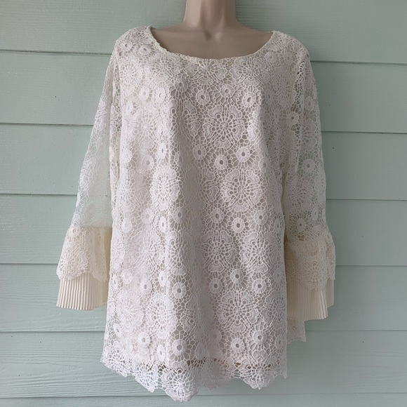 Charter Club Tops - Crochet Ruffle sleeve blouse
